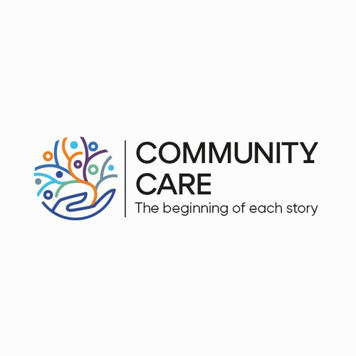 Abstract logo with the title 'Community Care'