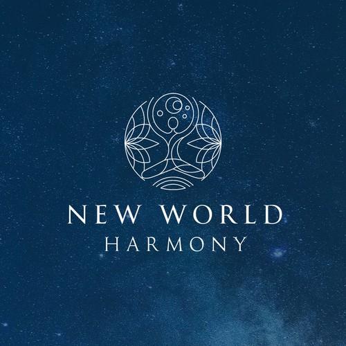 Yoga logo with the title 'World Harmony'