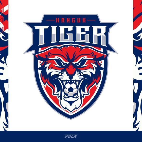 Crest logo with the title 'Soccer Logo design for Hanguk Tiger'