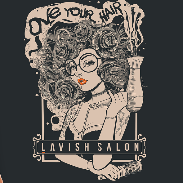Beauty salon design with the title 'LoVe yOur HaiR'