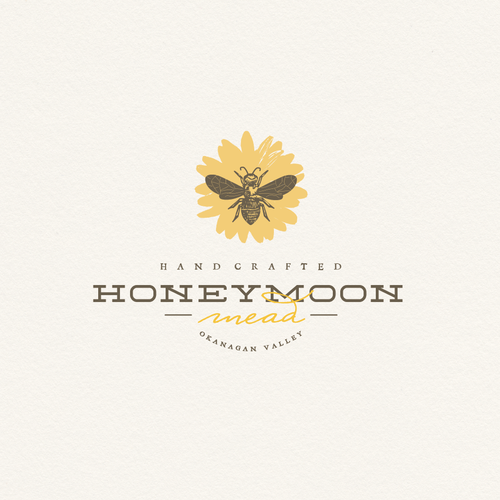Brown and gray logo with the title '***Meadery Logo - Honeybees, Wine, Bees, Beekeeping, Family Owned***'