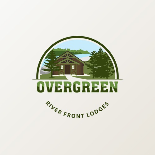 Country club logo with the title 'Overgreen river front lodges'