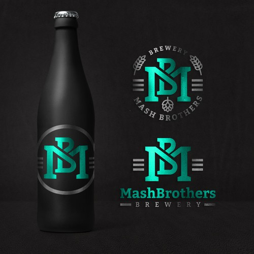 Barley design with the title 'MashBrothers brewery logo design'