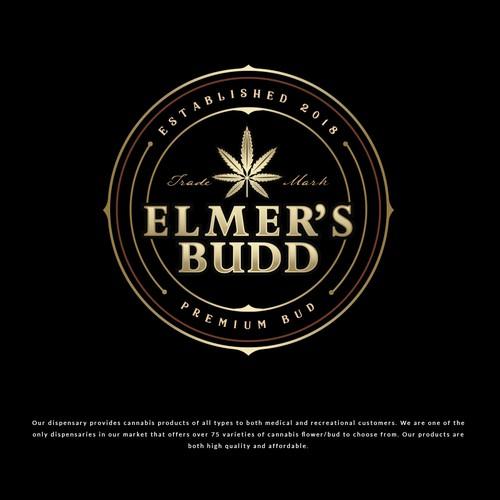 Marijuana leaf design with the title 'ELMER'S BUDD'