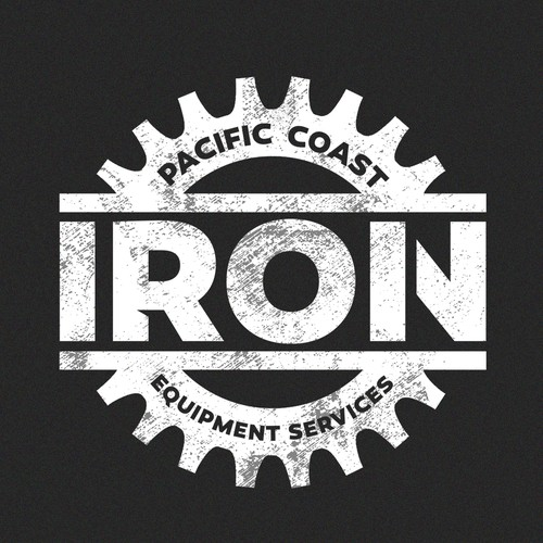 Heavy equipment logo with the title 'Pacific Coast Iron '