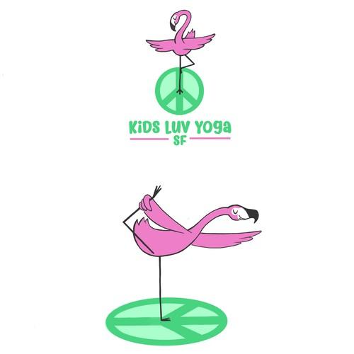 Flamingo logo with the title 'Flamingo animal mascot + Children's Yoga Logo'