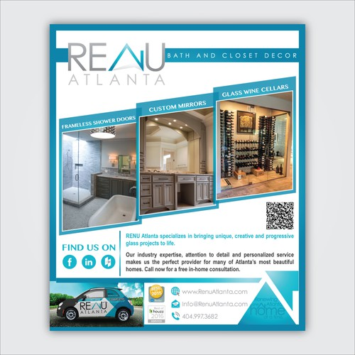 Interior decoration design with the title 'RENU Atlanta Magazine Ad'