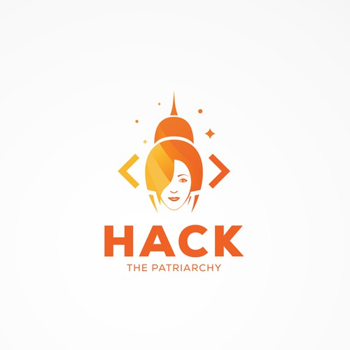Female logo with the title 'Concept for hackathon (a computer event) with a focus on celebrating women in tech.'