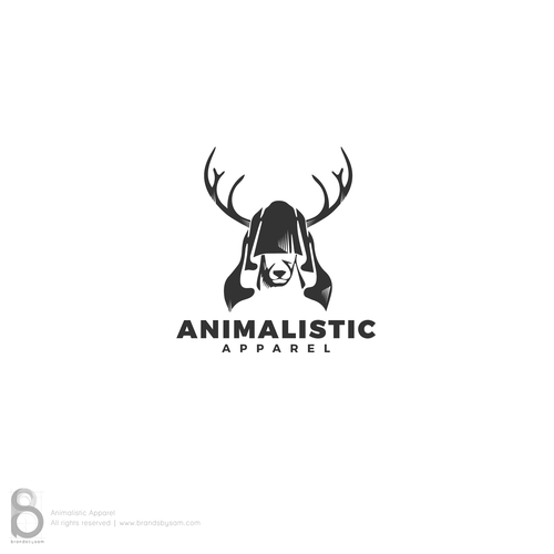 Horn logo with the title 'Hooded Deer logo concept for Animalistic Apparel'