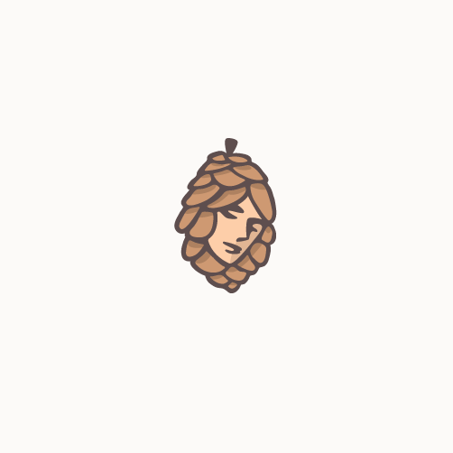 Pinecone design with the title 'Cute cannabis logo'