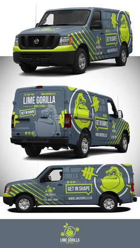 Van design with the title 'Lime Gorilla Mobile Fitness'