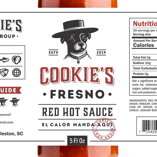 Sauce design with the title 'Cookie's Fresno Red Hot Sauce'