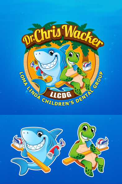 Toothpaste design with the title 'Children's Dental Group Seeks Fun and Lovable Shark and Sea Turtle Logo'