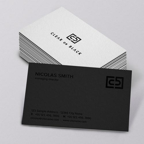 Interior design brand with the title 'Clear on Black'