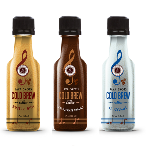 Coconut label with the title 'Cold brew natural coffee energy shots label'
