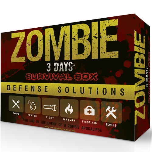 Book cover packaging with the title 'Zombie Survival Box'