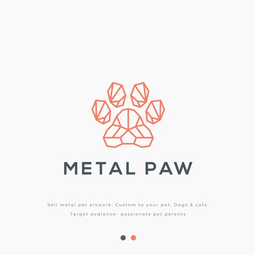 Line art logo with the title 'METAL PAW'