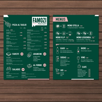 Menu design for fast-good pizza restaurant