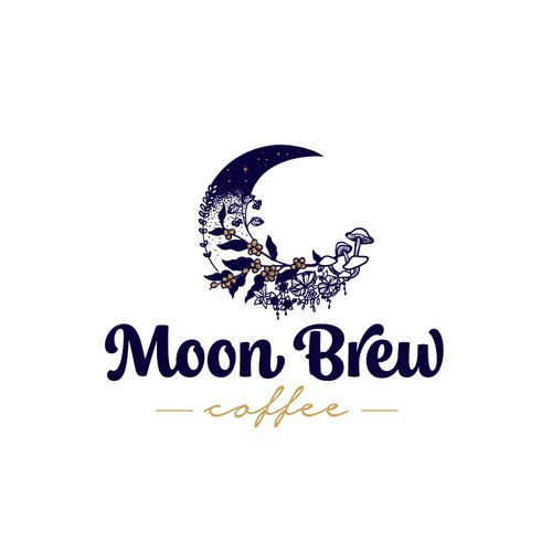 Magical design with the title 'Moon Brew Coffee'