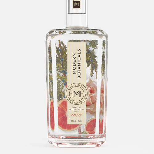 Clean packaging with the title 'Logo & Packaging Design for Modern Botanicals Gin '
