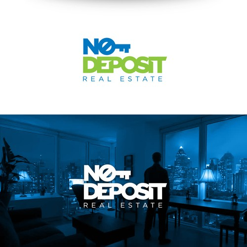 Sun and city logo with the title 'No Deposit Real Estate'