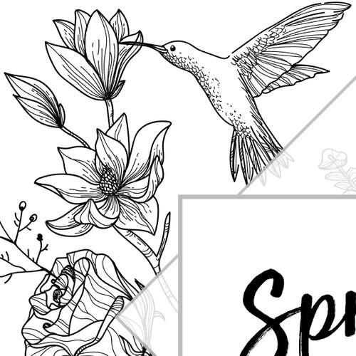 Floral illustration with the title 'flower design'