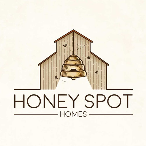 Beekeeping logo with the title 'Honey Spot Homes'