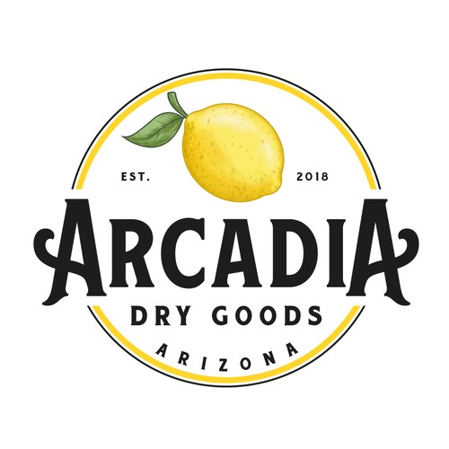 Fruit logo with the title 'Arcadia Dry Goods'
