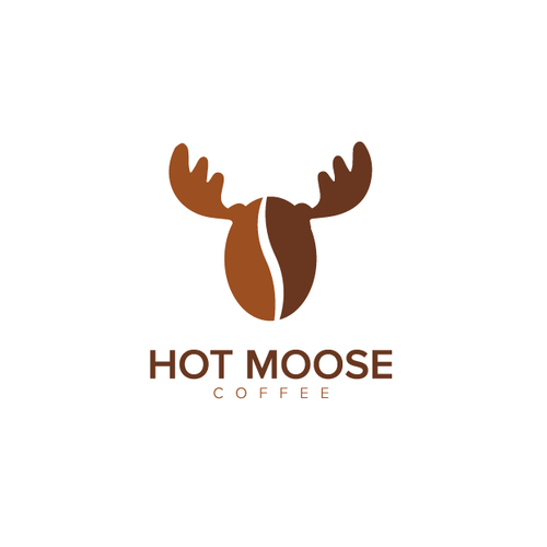 Brown and pink logo with the title 'Hot Moose Coffee'