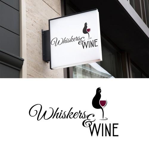 Wine bar logo with the title 'Elegant cat lounge logo '