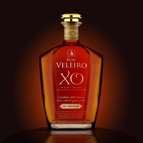 Elegant label with the title 'Luxury Rum XO'