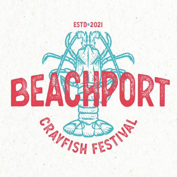 Lobster design with the title 'Beachport Crayfish Festival'
