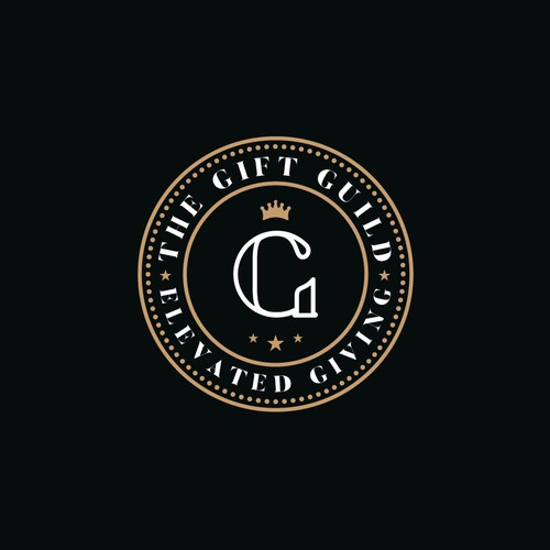 Gold crown logo with the title 'Luxurious Logo for The Gift Guild'