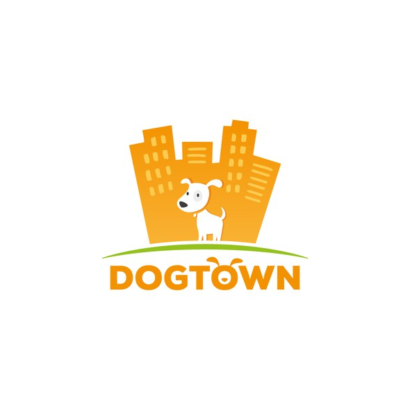 Dog walking logo with the title 'Dog in the City logo'