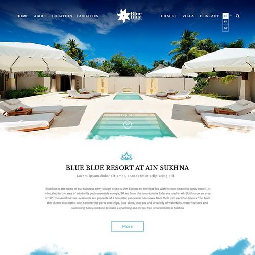 Destination design with the title 'Blue Resort Website'