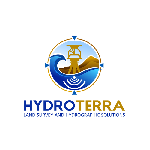 Hydro design with the title 'Land Survey and Hydrographic Survey'