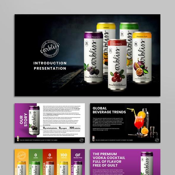 Black design with the title 'Presentation design for premium vodka cocktails'
