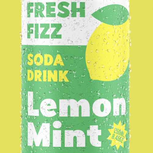 Lemon packaging with the title 'Fresh Fizz Soda Drink'