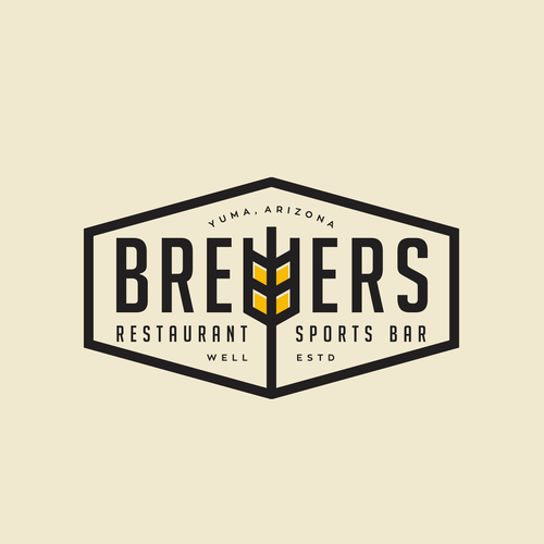 Bartender logo with the title 'Brewers restaurant logo'