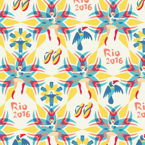 Carnival design with the title 'Rio pattern. Carnival dancers and Christ the Redeemer. '