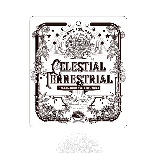 Plant design with the title 'logo for Celestial terrestrial'