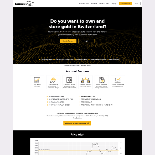 Gold website with the title 'Gold'