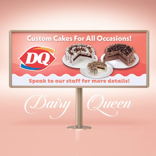 Queen design with the title 'Dairy Queen Custom Cakes Banner'