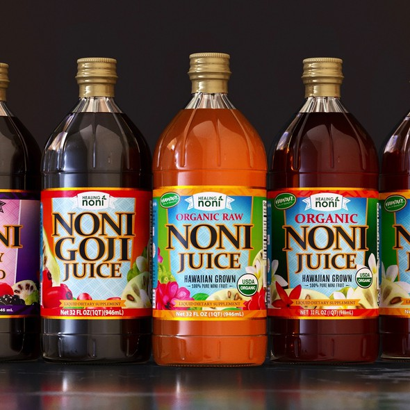 Juice packaging with the title 'Mockups for an organic juice product line'
