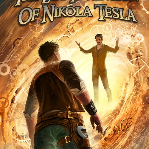 Steampunk design with the title 'The last invention of Tesla'