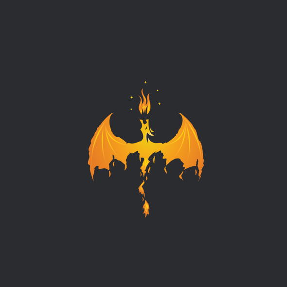 Cryptocurrency logo with the title 'Fiery dragon logo'