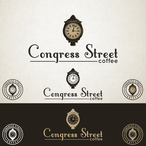 Clock logo with the title 'Logo Design for Congress Street Coffee'