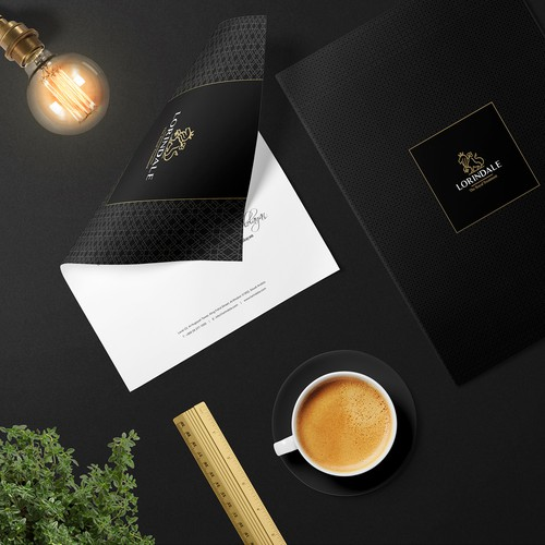 Envelope design with the title 'Luxurious Stationary for Lorindale'