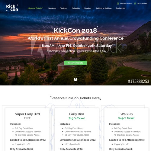 Usability design with the title 'KickCon Web page'