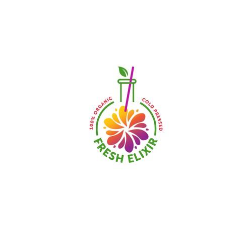 Juice bar design with the title 'Fresh Elixir Juice'